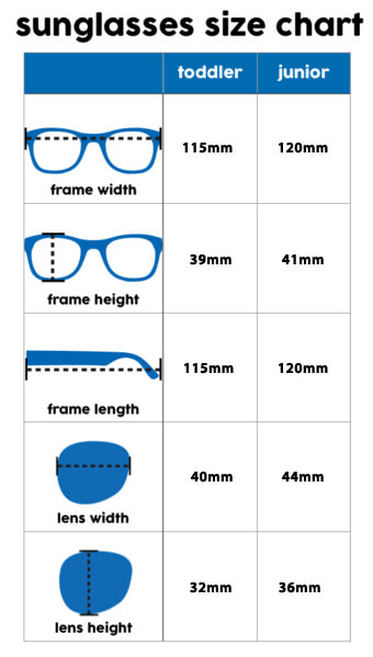 my first sunglasses size chart